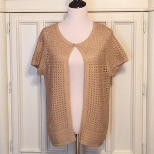 Chico's Short-Sleeve Open-Weave Cardigan